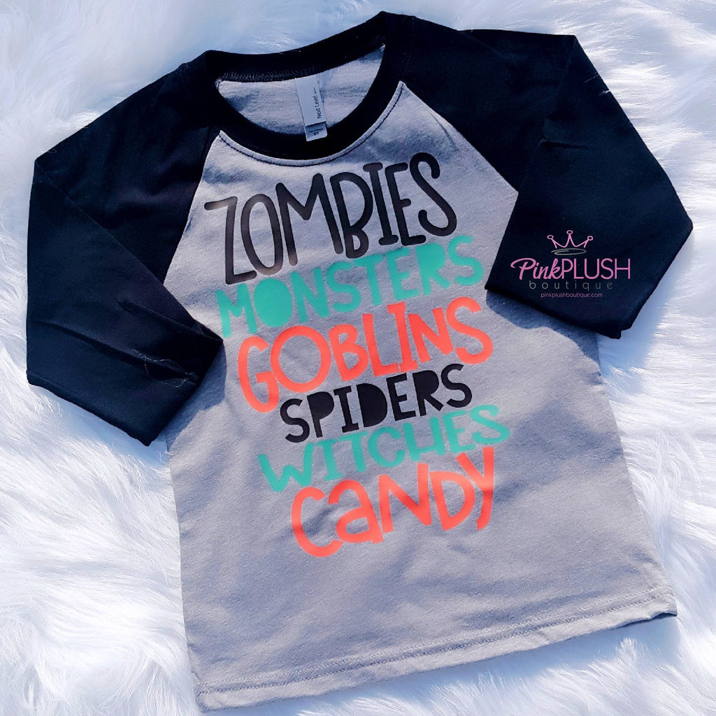 Zombies. Monsters. Goblins. Raglan - Pink Plush Boutique