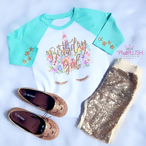 """Birthday Unicorn"" Raglan - Pink Plush Boutique"