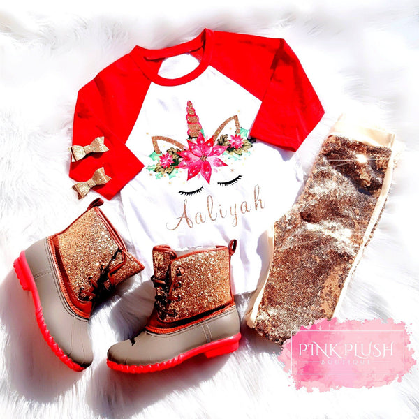 Personalized Christmas Unicorn Raglan