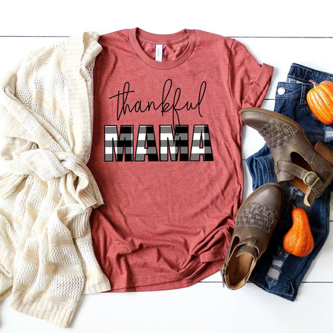 """THANKFUL MAMA"" PLAID Tshirt"