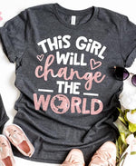 """This Girl will Change the World"" Glitter Tshirt - Pink Plush Boutique"