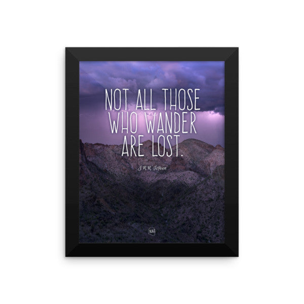 """Those Who Wander"" Arizona Stormy Mountain Framed Poster"