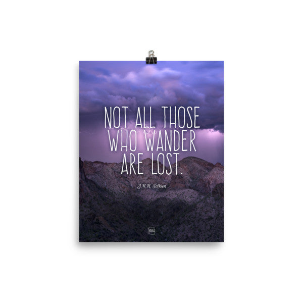 """Those Who Wander"" Arizona Stormy Mountain Unframed Poster"