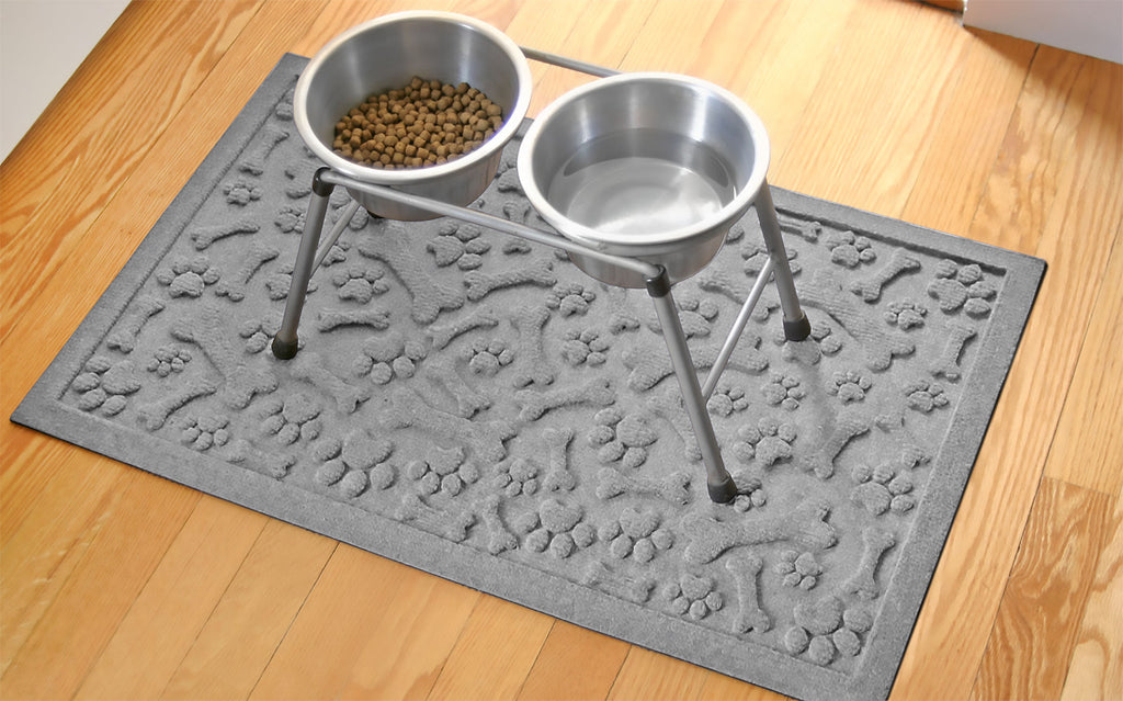 "Wholesale- (2 units) Waterhog Paws & Bones 18""x28"" Pet Feeder Mat"