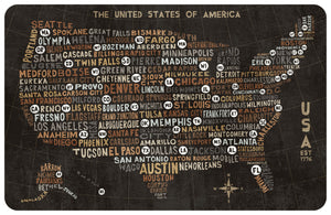 "US City Map 23""x36"" Accent Mat by Michael Mullan"