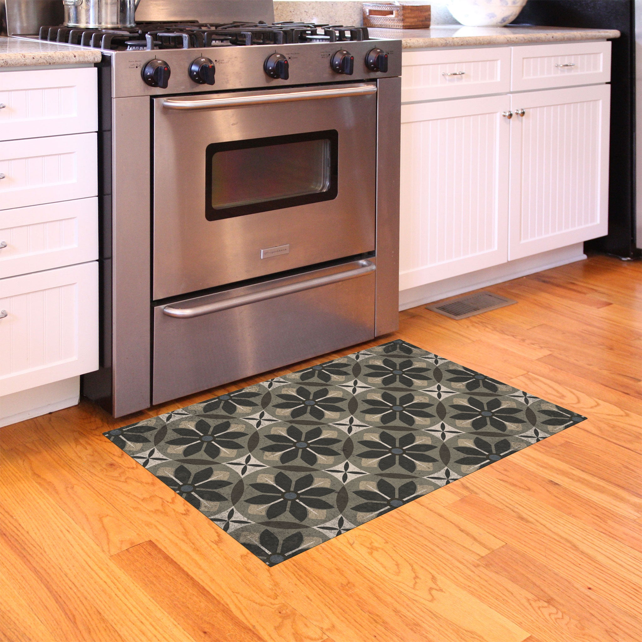 2020 FlorArt Nazareth White - Low Profile Decorative Floor Mat - Made in USA