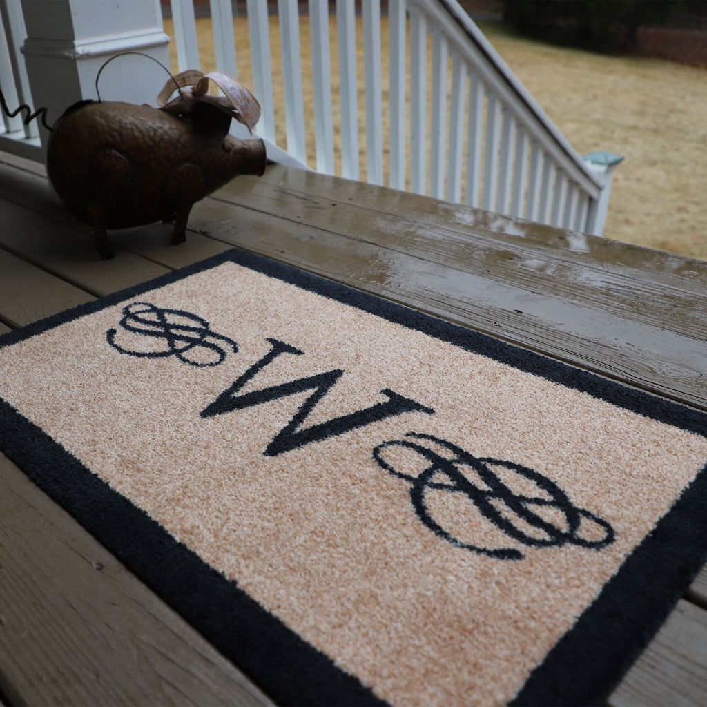 2020 ColorStar - Calligraphy Monogram Black - Indoor/Outdoor Doormat