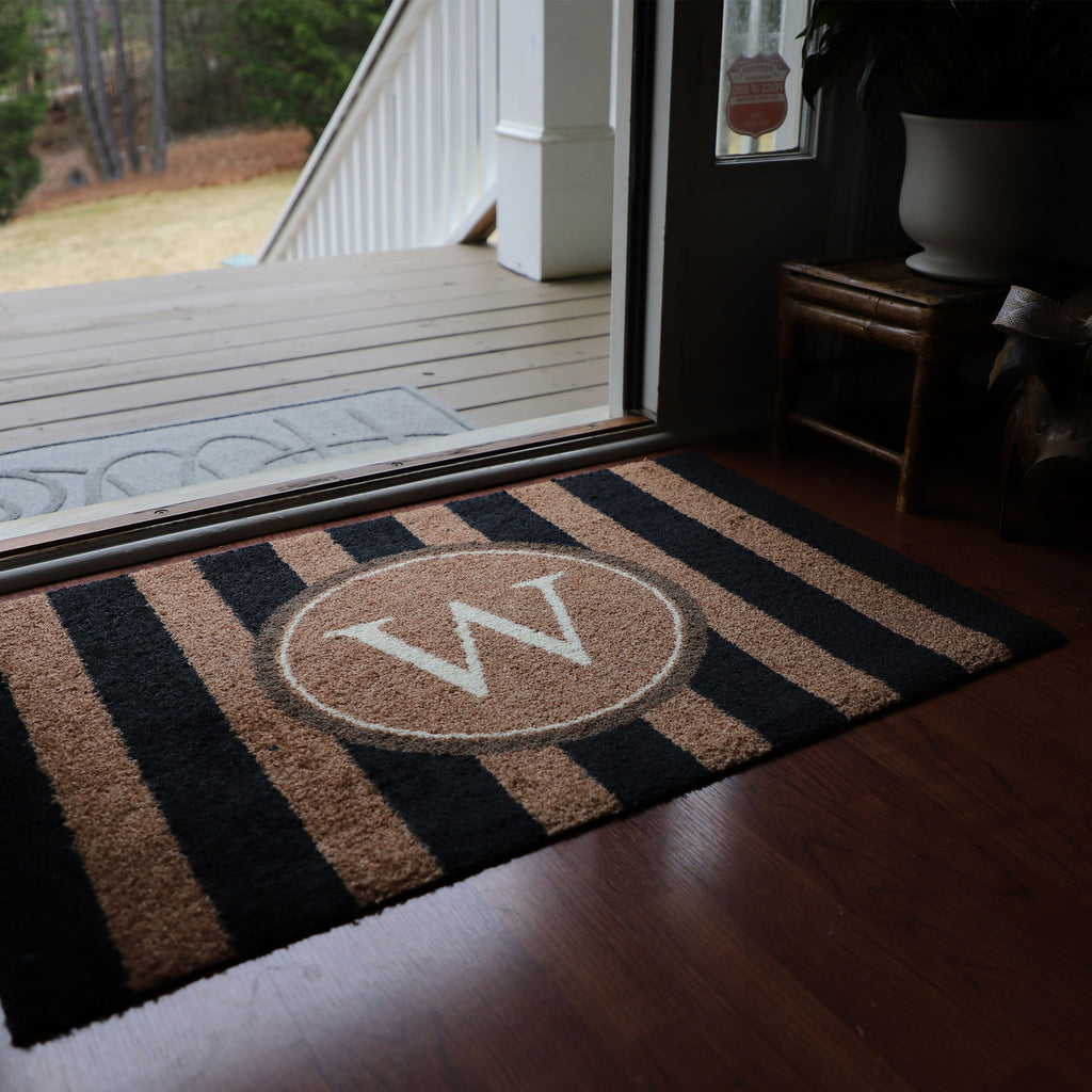 2020 ColorStar - Black Stripe Monogram - Indoor/Outdoor Doormat