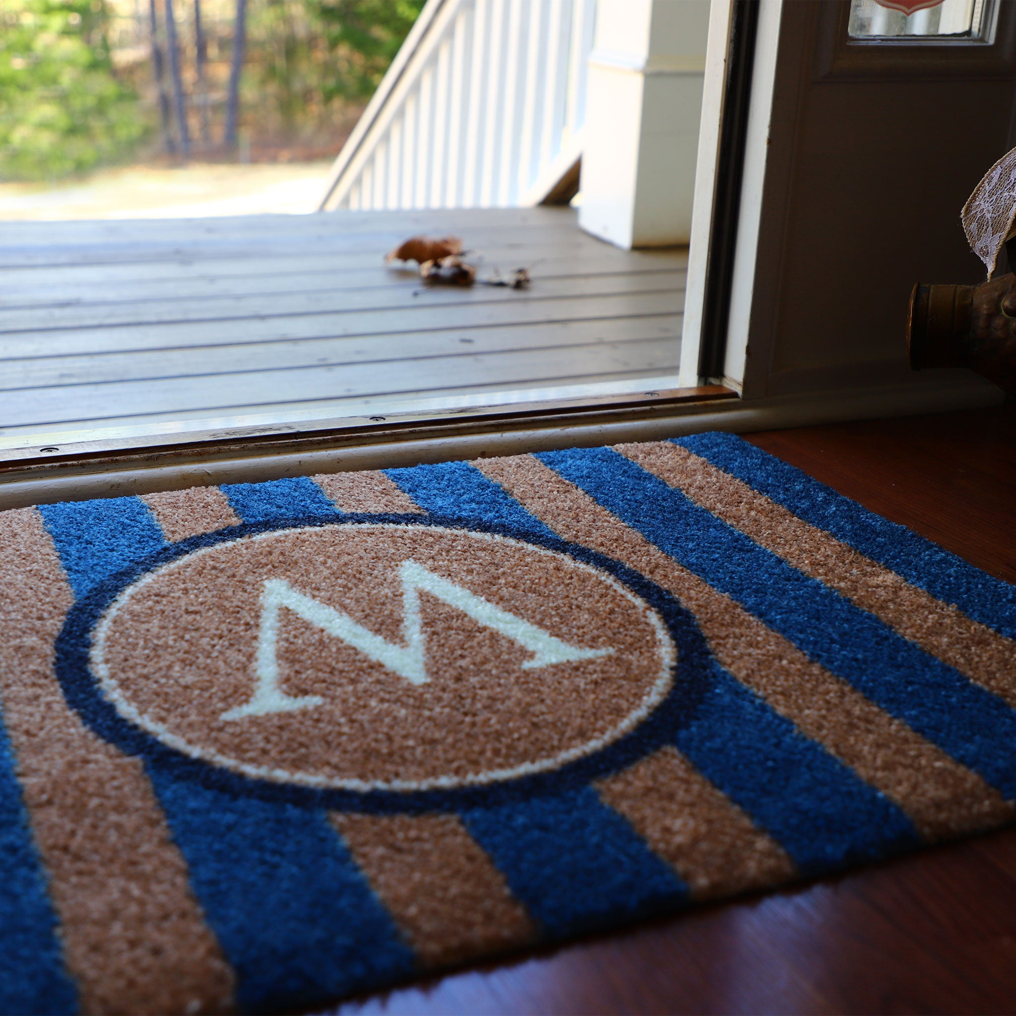 2020 ColorStar - Blue Stripe Monogram - Indoor/Outdoor Doormat