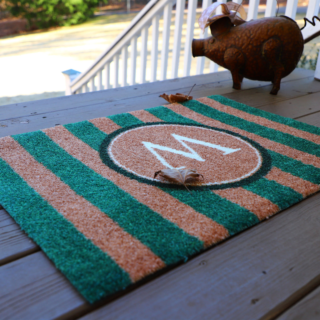 2020 ColorStar - Green Stripe Monogram - Indoor/Outdoor Doormat