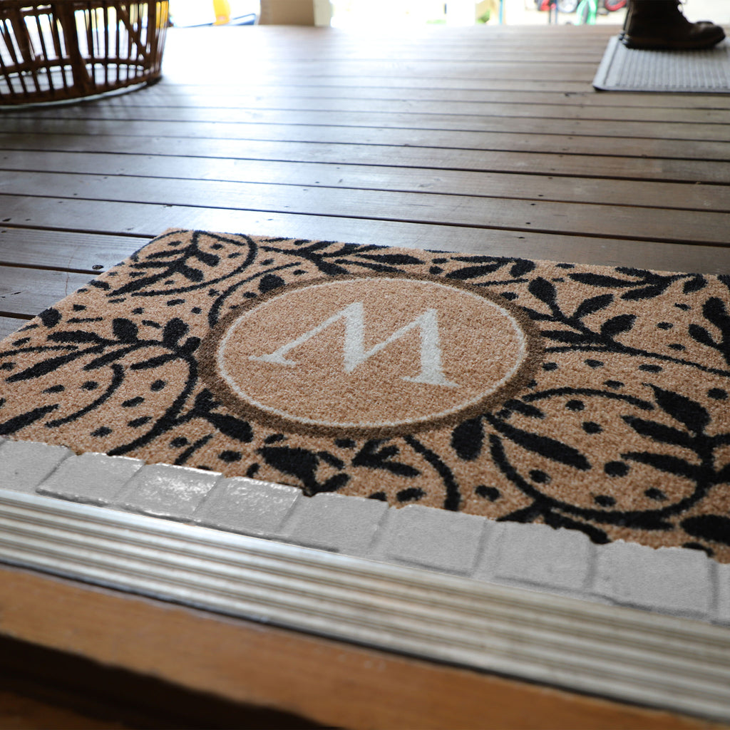 2020 ColorStar - Wisteria Vine Monogram Camel - Indoor/Outdoor Doormat