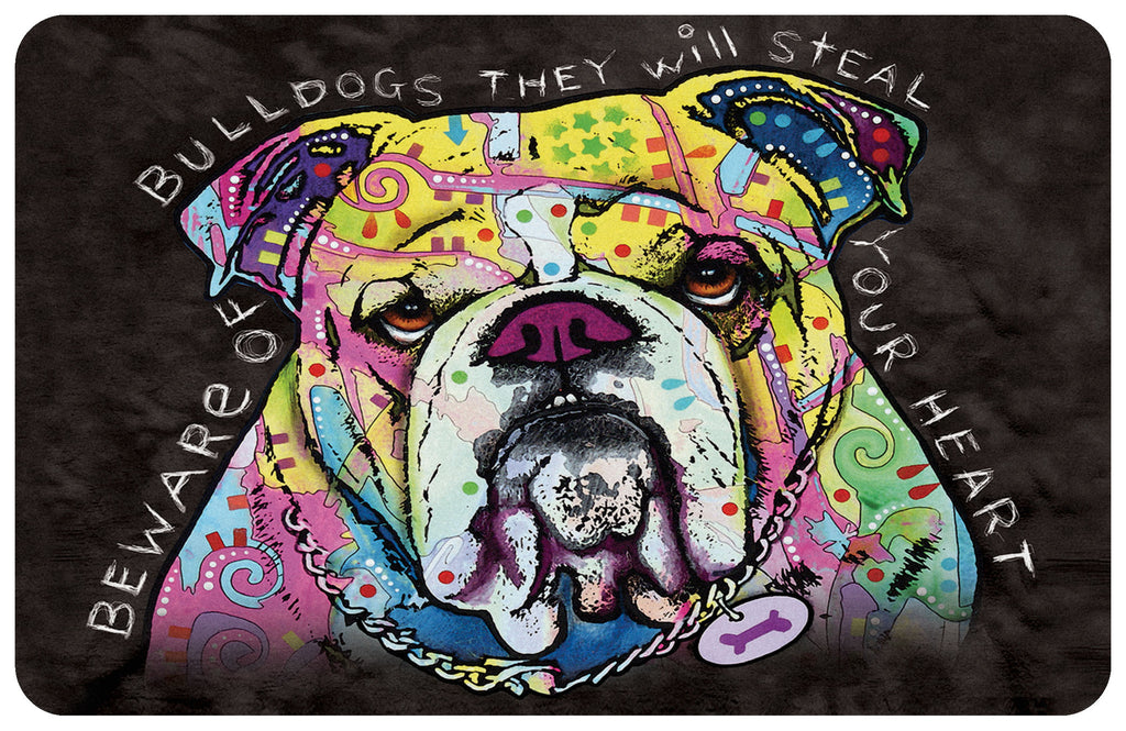 "Wholesale- (2 units) Bulldog Heart 23""x36"" Accent Mat by Dean Russo"