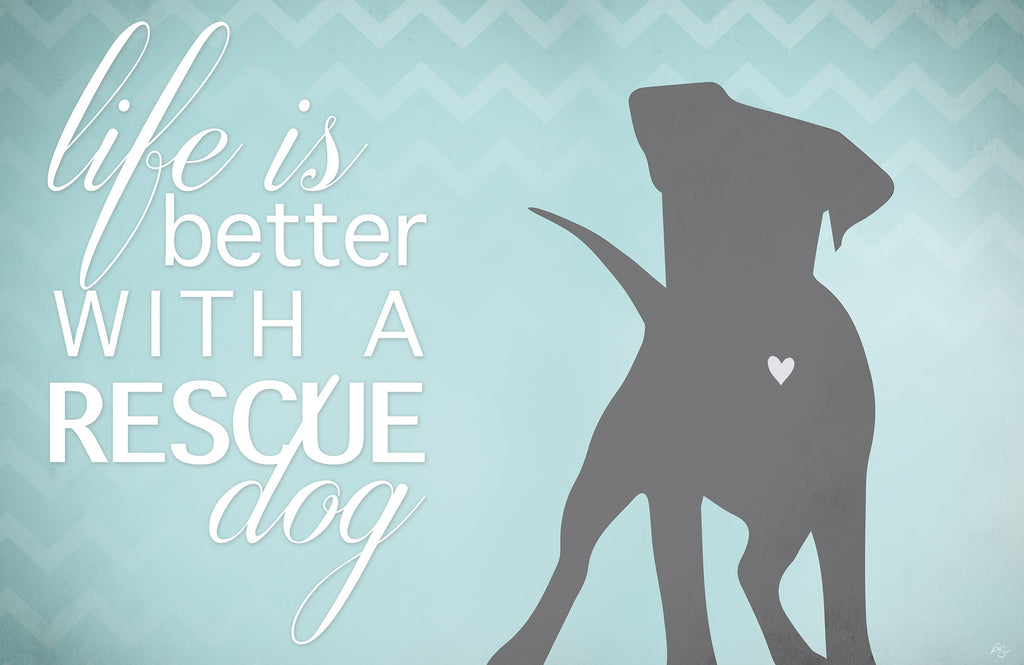 "Wholesale- (2 units) Better with a Rescue Dog 23""x36"" Accent Mat by Kimberly Glover"