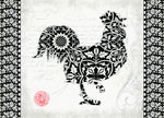 "Premium Comfort Black & White Rooster 22""x31"" Mat by Stephanie Marrott"