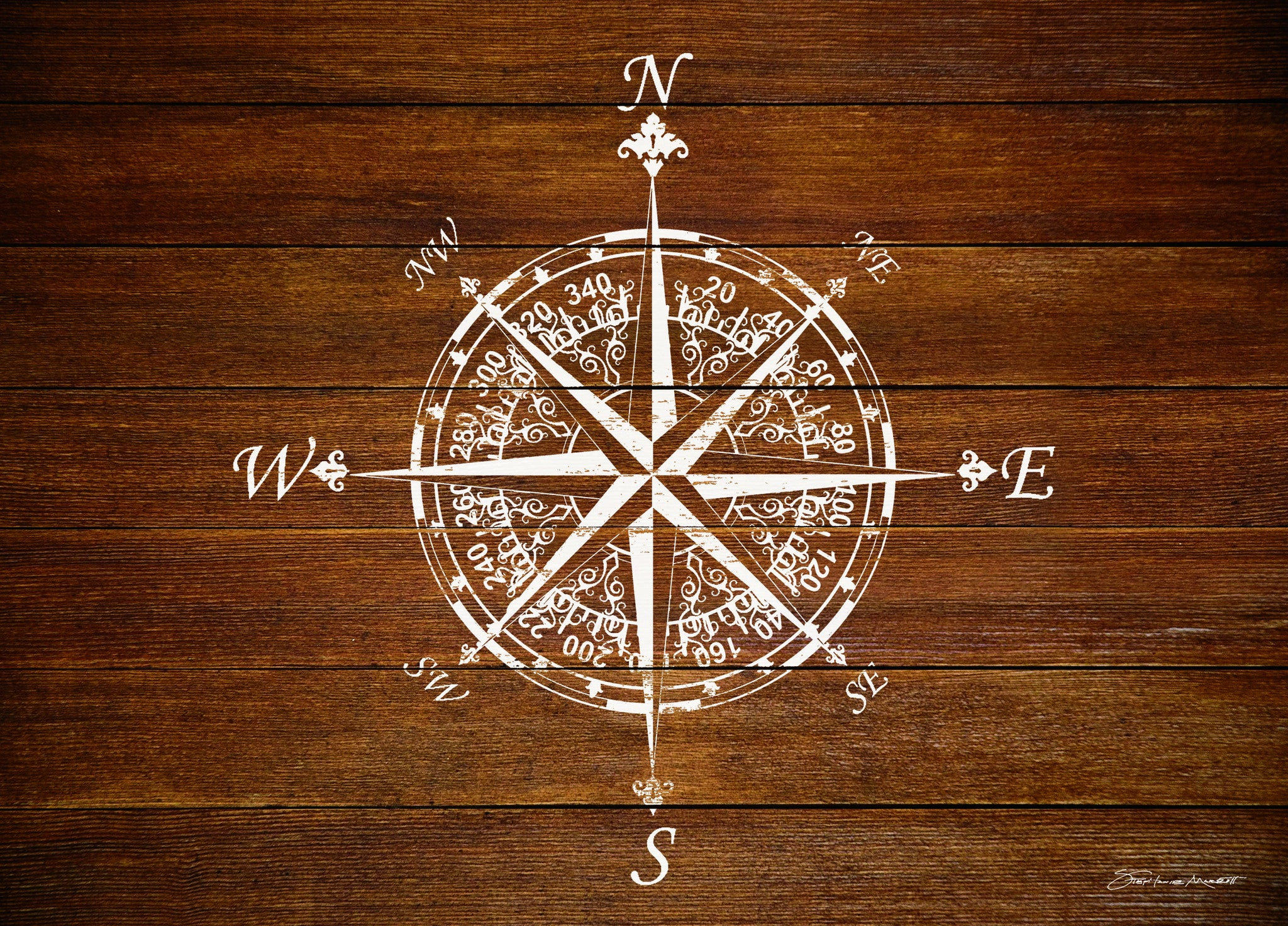 "Wholesale- (2 units) Premium Comfort Compass on Wood 22""x31"" Mat by Stephanie Marrott"
