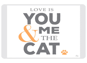 "Love is You Me and the Cat 23""x36"" Accent Mat by Kimberly Glover"