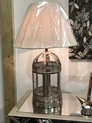 Glass And Chrome Table Lamp With Shade - Global Trading