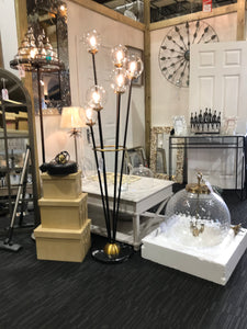 Mercer Glass Bubble Black And Brass Floor Lamp - Global Trading