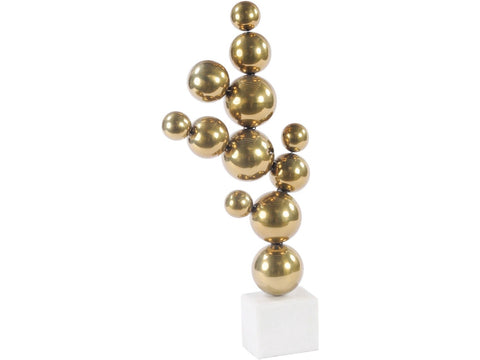 Brass Abstract Stacked Sphere Sculpture - Global Trading