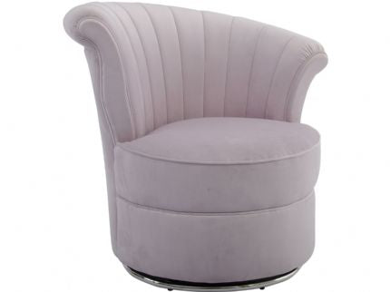Savoy Curved Pink Velvet Occasional Swivel Chair - Global Trading