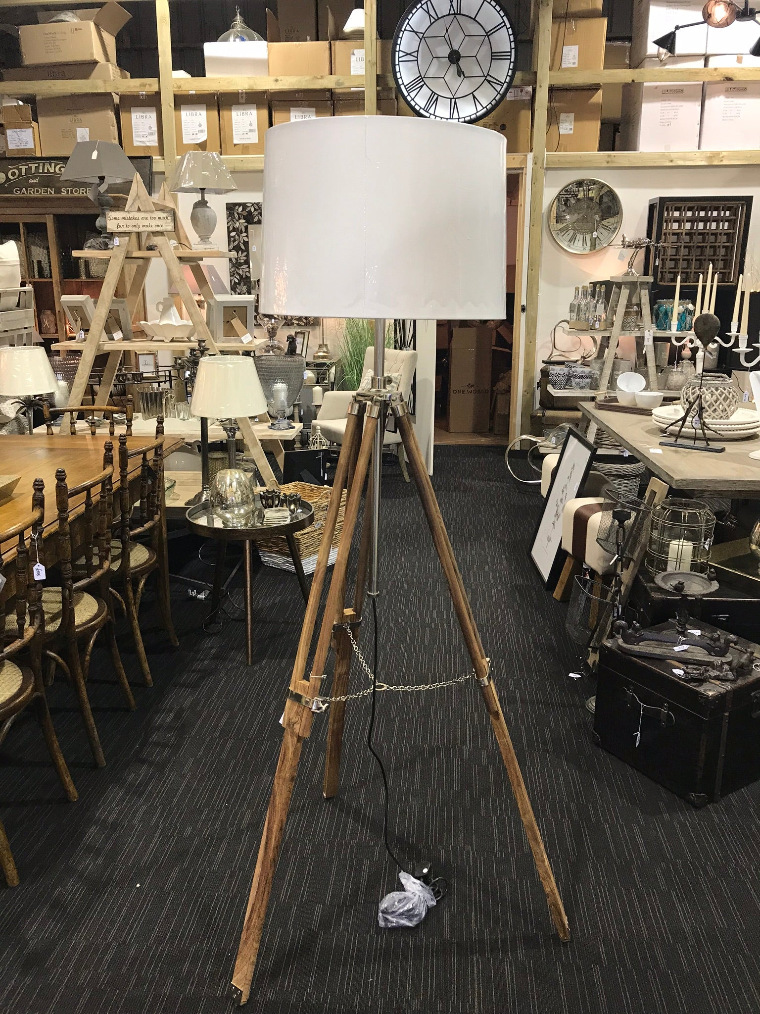 Natural Wood Tripod Light - Global Trading