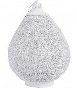 White Filigree Metal Candle Lantern - Global Trading
