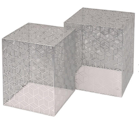 Silver Square Nesting Set of 2 Side Tables - Global Trading