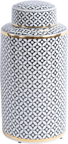 Black And White Print Ceramic Lidded Jar