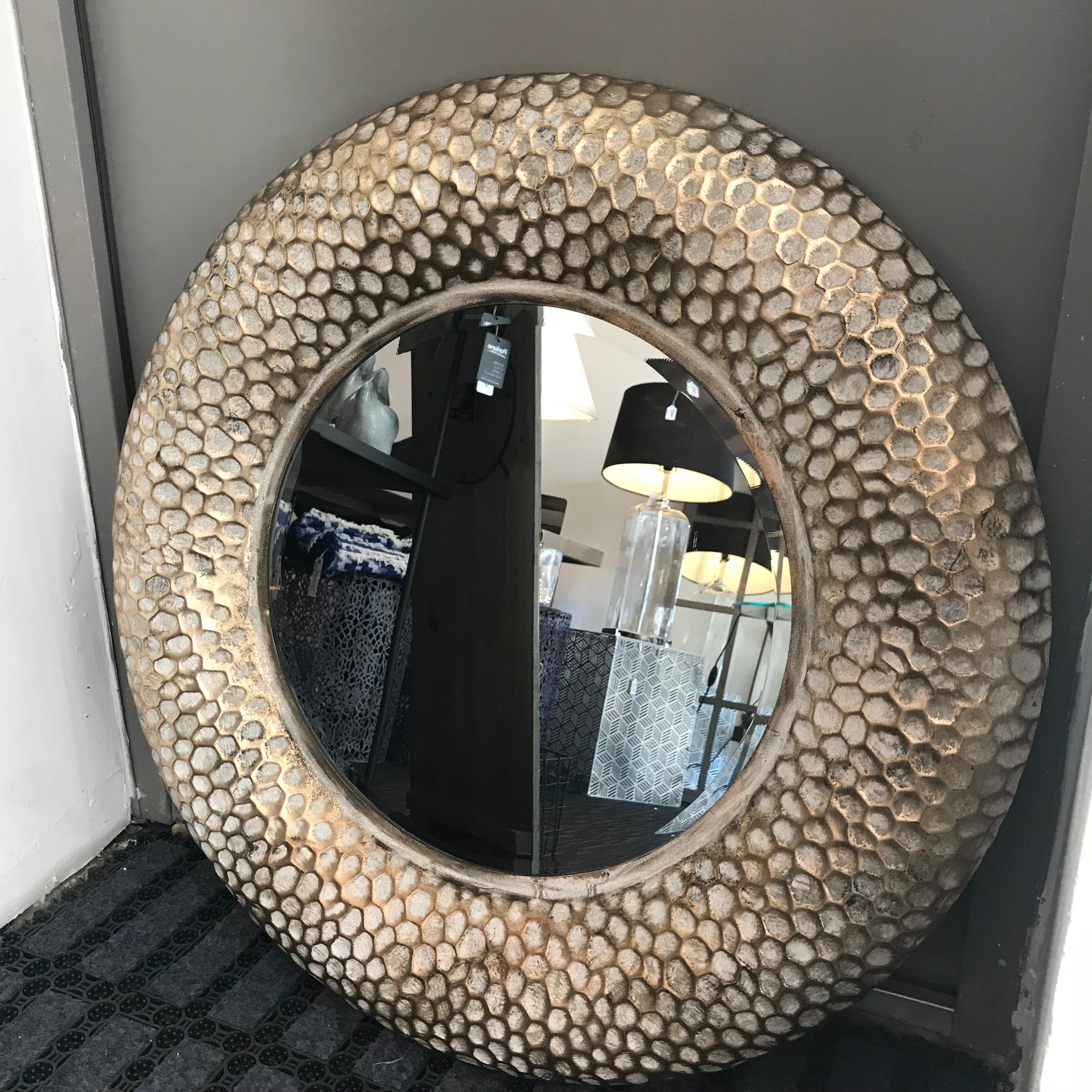 Antique Round Honeycomb Mirror - Global Trading