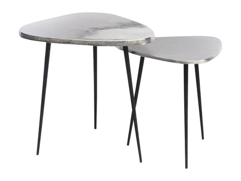 Set Of Two Silver Aluminium Side Tables - Global Trading