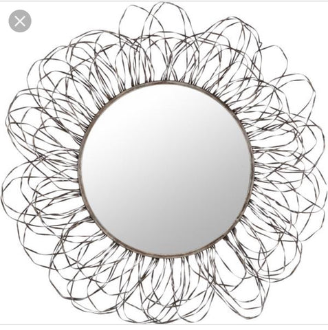 Round Seaweed Mirror In Grey Paint Finish - Global Trading