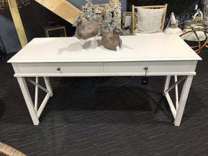 Cream Poplar 2 Drawer Desk/Console Table - Global Trading