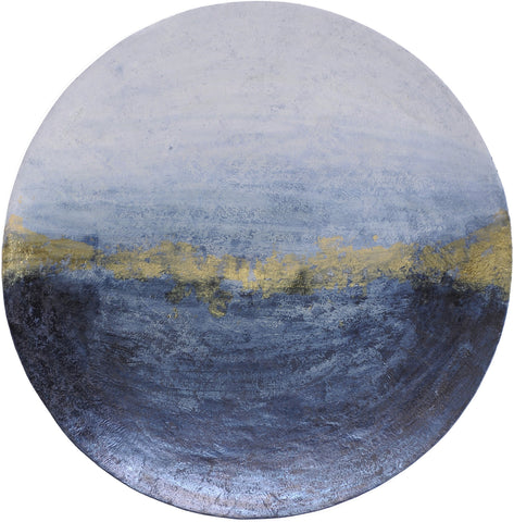 Blue And Gold Wall Disc - Global Trading