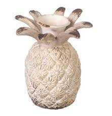 Small Distressed White Pineapple Candle Holder - Global Trading