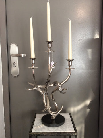 Silver Antler Candle Stick