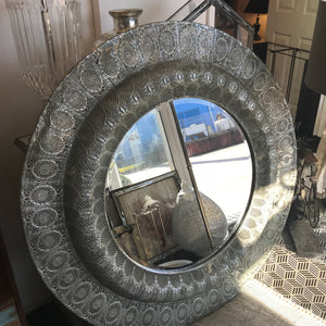 Antique Silver Round Mirror - Global Trading