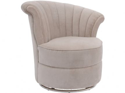 Savoy Curved Taupe Velvet Swivel Chair - Global Trading