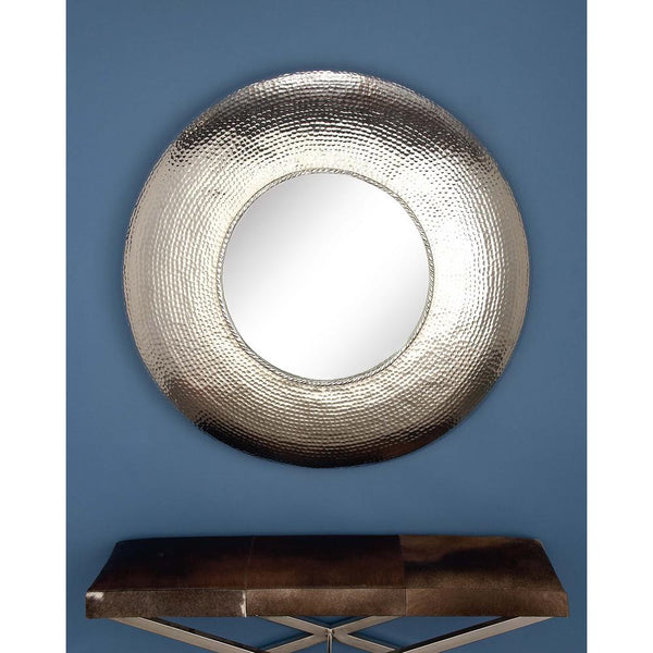 Hammered Silver Framed Wall Mirror - Global Trading