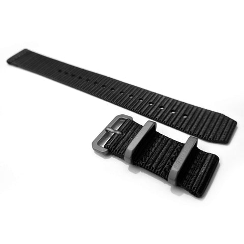 Ballistic Nylon Two Piece Strap: Black 20mm