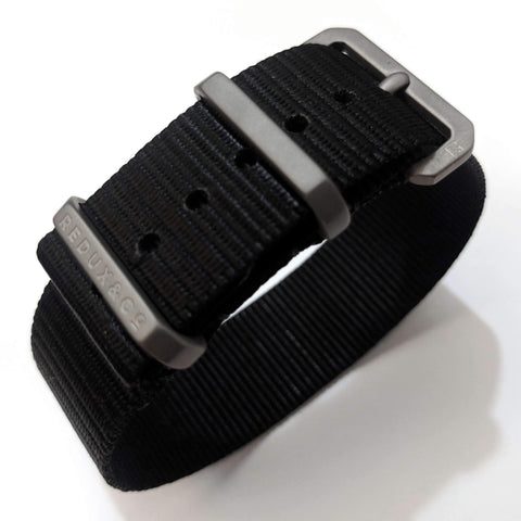 Ballistic Nylon Single Pass Strap: Black 20mm