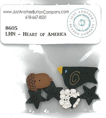 Little House Needleworks ~ Heart Of America ~ JABC Button Pack