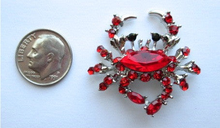 Needle Minder ~ Red Rhinestone Crab
