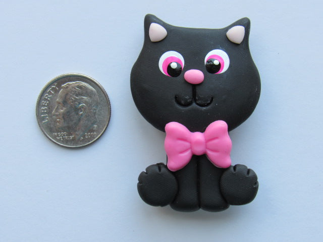 Needle Minder ~ Black Kitty (Clay)