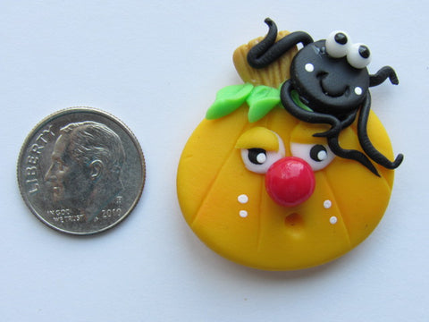 Needle Minder ~ Silly Pumpkin & Spider (Clay)