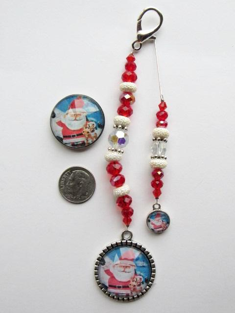 Santa & Rudolph Needle Minder, Scissor Fob & Thread Picker Set - ONE OF A KIND!