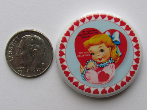 "1.25"" Button Magnet ~ Vintage Valentine's #2 - Heart On Sleeve"