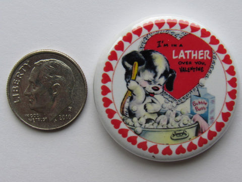 "1.25"" Button Magnet ~ Vintage Valentine's #3 - Puppy Lather"
