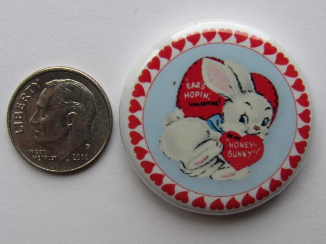 "1.25"" Button Magnet ~ Vintage Valentine's #4 - Honey Bunny"