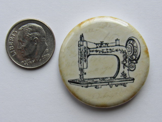 "1.25"" Button Magnet ~ Vintage Sewing Machine #2"