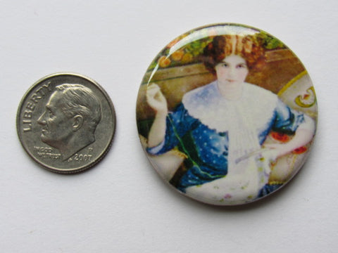 "1.25"" Button Magnet ~ Stitching Lady"